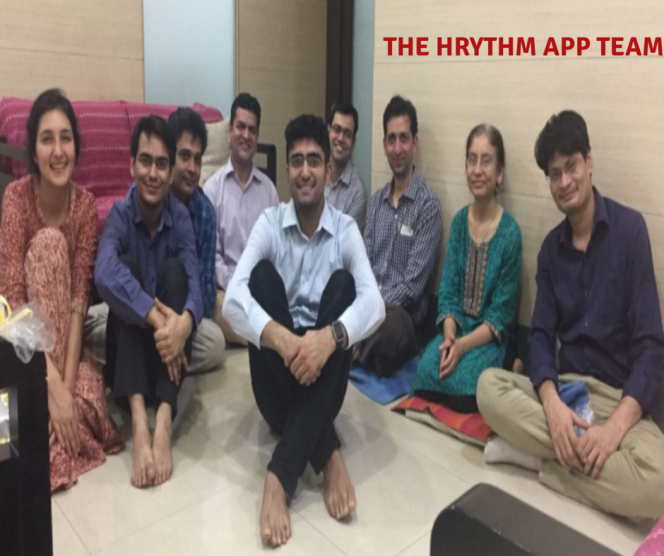 The men and women behind the HRythm App, with Uday in the center.