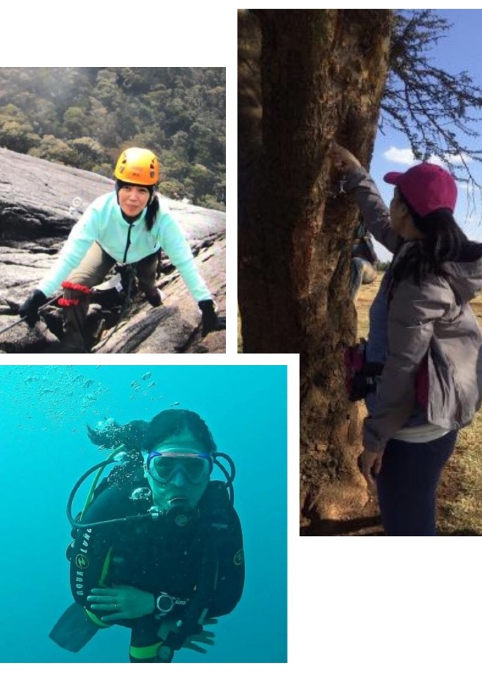Some of Veron's adventures. Top left: Climbing Mt. Kinabalu via Walk the TorqRight: In a ceremonial writing on the tree while engaging in volunteer work in KenyaBottom left: Advanced Open Water Diver PADI-certification
